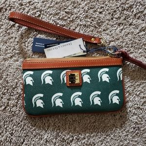 Brand new Dooney & Bourke Michigan State wristlet